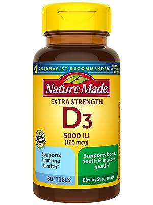 Nature Made Extra Strength Vitamin D3 125 mcg (5000 IU) Softgels