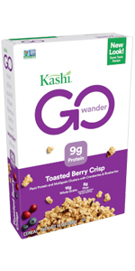 Kashi GO Toasted Berry Crisp cereal is made with 16 grams of whole grains