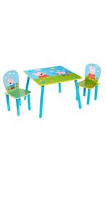 Constructed Dimensions Table 43.5cm 63cm D Peppa Pig Set Tavolo e 2 sedie per Bambini x 29cm x 29.5cm D H W approximate Chairs 52.5cm