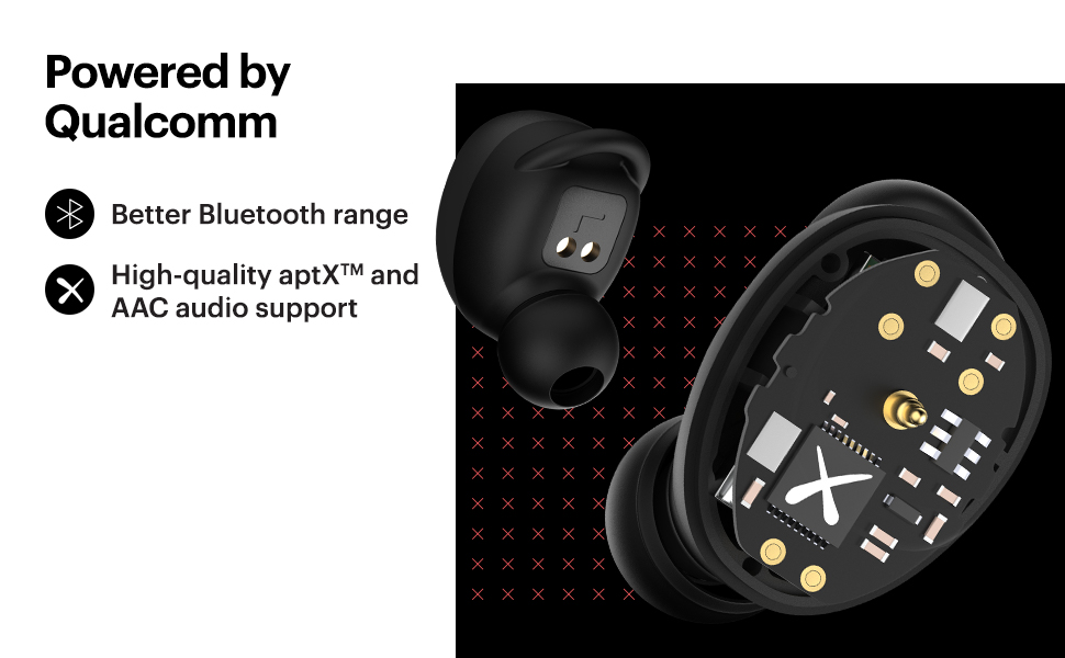 qualcomm powered wireless earbuds, hifi-aptx earbuds, earpods with bluetooth 5.0, AAC audio support