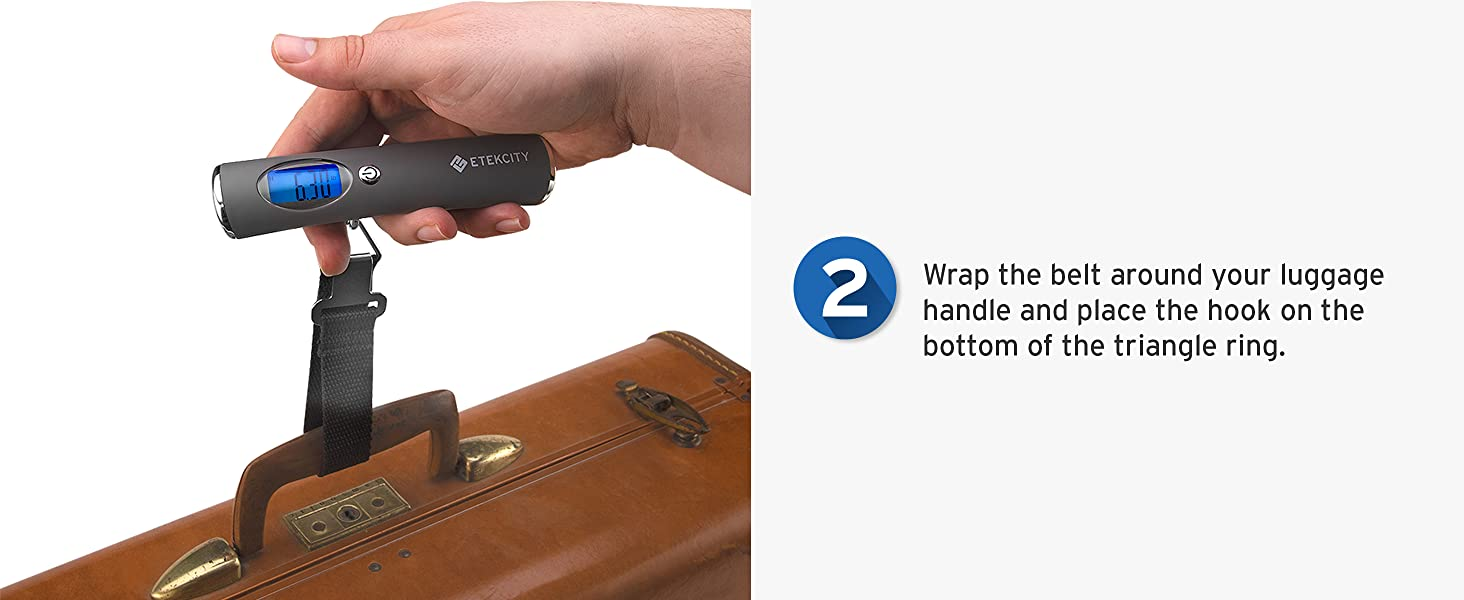 Wrap the belt around your luggage handle and place the hook on the bottom of the triangle ring