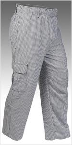 Mercer Culinary M60030BFPS Millennia Unisex Black Cook Pants with White Fine Pinstripe Small