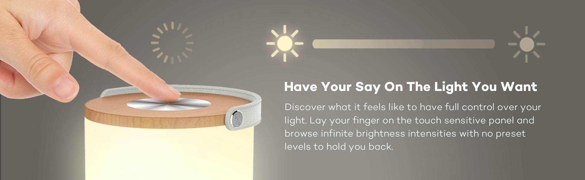Taotronics Rechargeable Touch Sensor Bedside Lamp Led