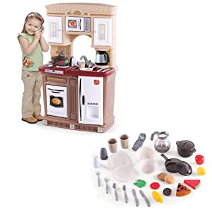 A Pretend Play Kids Kitchen With Play Food And Accessories