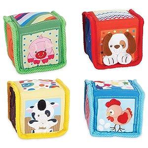 infant toy, plush toy, baby toy, stacking blocks, crinkle blocks, tags, sensory toy