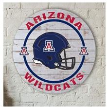 Arizona Wildcats Helmet Weathered Circle Sign