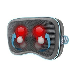HoMedics Gel Shiatsu Travel Pillow with Heat - Massage Pillow for Legs, Lumbar, Shoulders