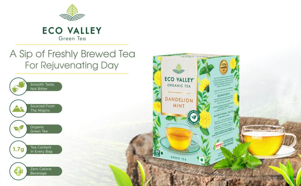 Eco Valley Natural Green Tea, Dandelion and Mint, 30 Tea Bags SPN-FOR1