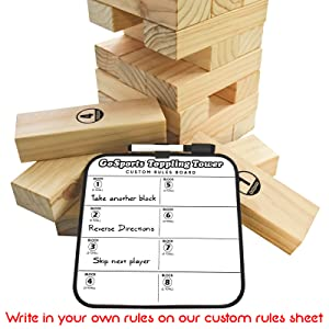 gosports giant toppling tower jenga back yard game kids adults party life size wood jinga set fun
