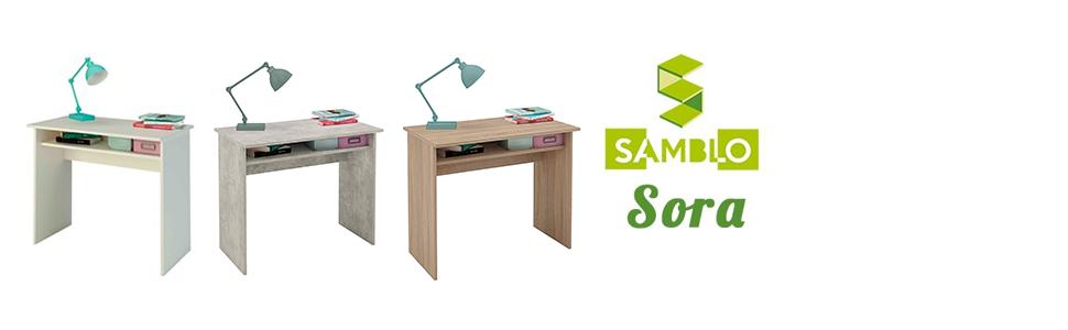 Samblo Sora Escritorio con balda, Melamina, Roble, 90cm Ancho ...