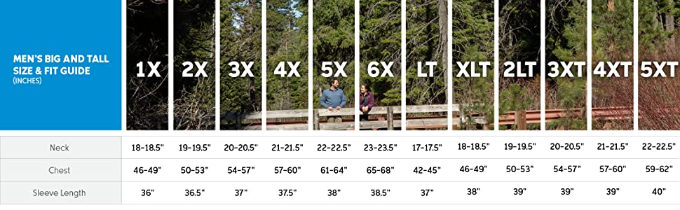 Men's pullover big and tall size and fit guide