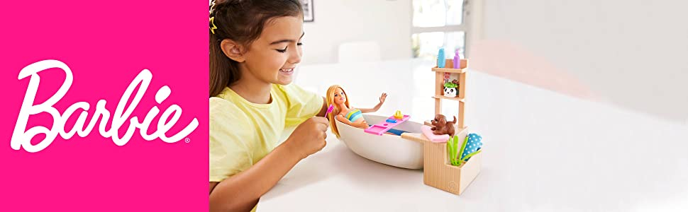 Barbie Muñeca Barbie y su Bañera de Burbujas, juguete regalo para niños y niñas