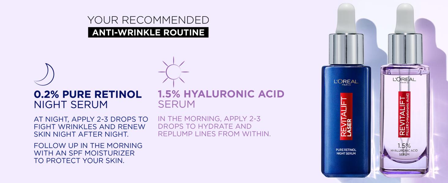 L'Oréal Paris Pure Retinol, Revitalift Filler Serum, Retinol, Hyaluronic Acid