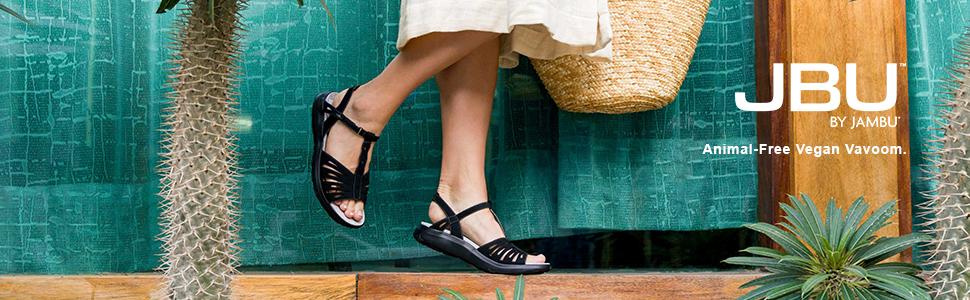 JBU by Jambu Memory Foam Black Melon T Strap Sandal Shoe Vegan Leather NEW J449