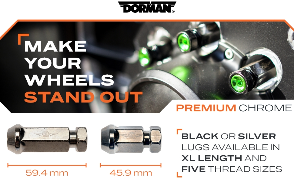 Make your Wheels Stand Out, Premium Chrome, XL Lengths, Five Thread Sizes