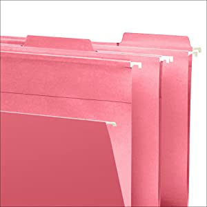 Smead FasTab hanging file folders with built-in tabs, letter size, coated rod tips, easy to label