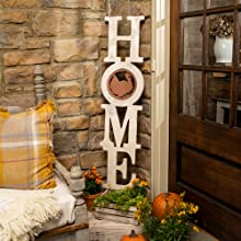 Our Interchangeable HOME sign with seasonal inserts
