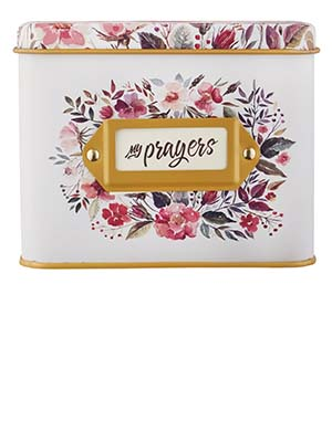 Christian Art Gifts My Prayers Prayer Cards in Tin
