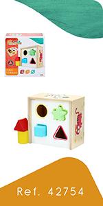 woomax, colorbaby, cubos madera, juguetes madera, cajas madera, juego piezas madera, piezas madera