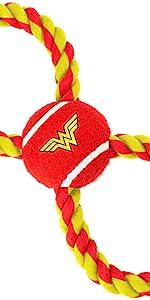 Wonder Woman Diana Prince Princess Amazonian Justice League 1984 Rope Tennis Ball Tug Dog Pet Toy