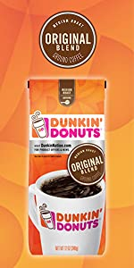 ... Dunkin Donuts Original Blend Ground Coffee Resealable bag 100% Arabica coffee beans home brew ...