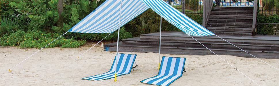 Beach Canopy Beach Tent Beach Shade Beach Umbrella Beach & Amazon.com : Beach Canopy - Large Lightweight Weatherproof ...