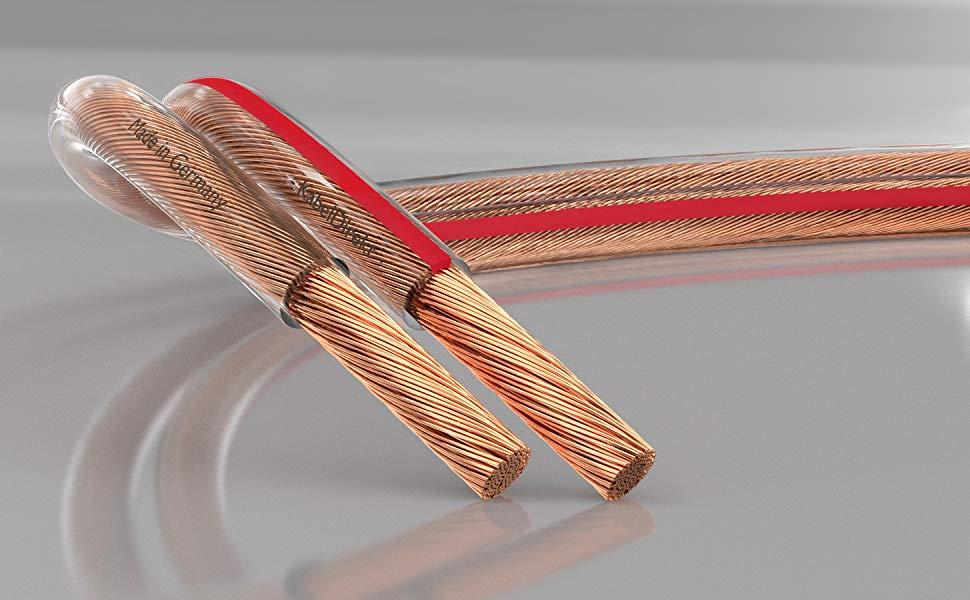 2X 2,5mm/² Rojo//Negro Marca de Polaridad 50x0,25mm Trenza deleyCON 10m Cable de Altavoz Aluminio Recubierto de Cobre