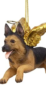Design Toscano Honor the Pooch: German Shepherd Holiday Dog Angel Ornament
