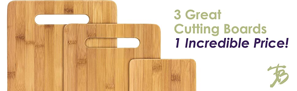 Totally Bamboo 3 Piece Bamboo Serving And Cutting Board Set