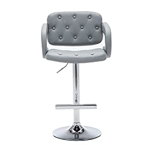 AC Pacific Diamond Tufted Contemporary Hydraulic Adjustable Swivel Bar Stool with Armrest and Cushion 25-33 Black