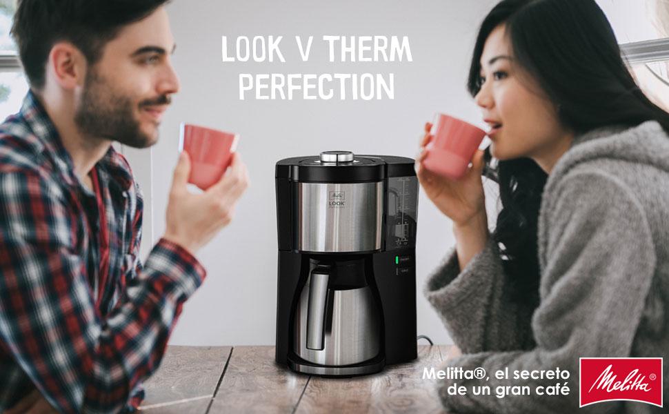 Melitta Look V Therm Perfection 1025-16, Cafetera de Goteo, Jarra Térmica, Protección Antical, Depósito Extraíble, 1,25 Litros, Negro: Amazon.es: Hogar