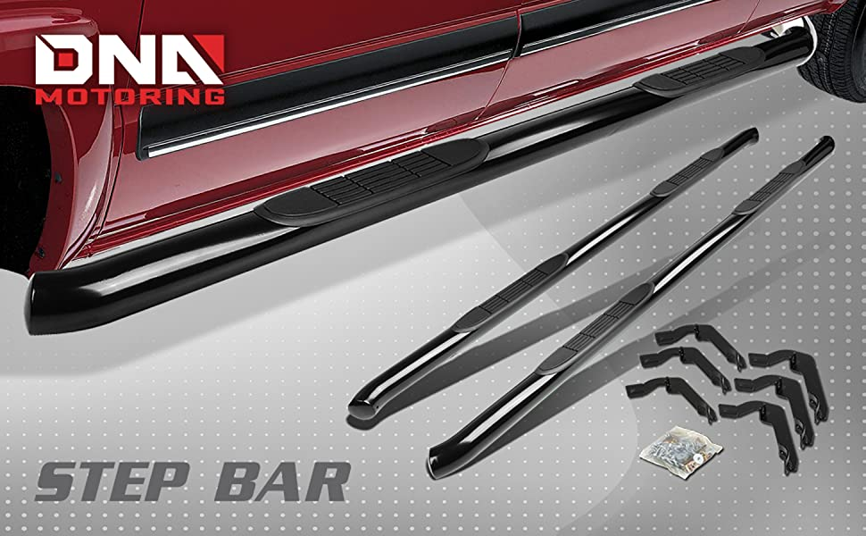 DNA motoring STEPB-3-002-BK Stainless Steel 3 Side Step Nerf Bar Running Board