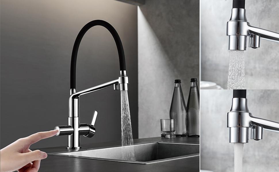 Grifo de cocina osmosis con ca/ño flexible GRIFEMA G4010W-2-DOVER Blanco Pulverizador de doble funci/ón 3 en 1 para purificador de filtro de agua y fregadero de cocina