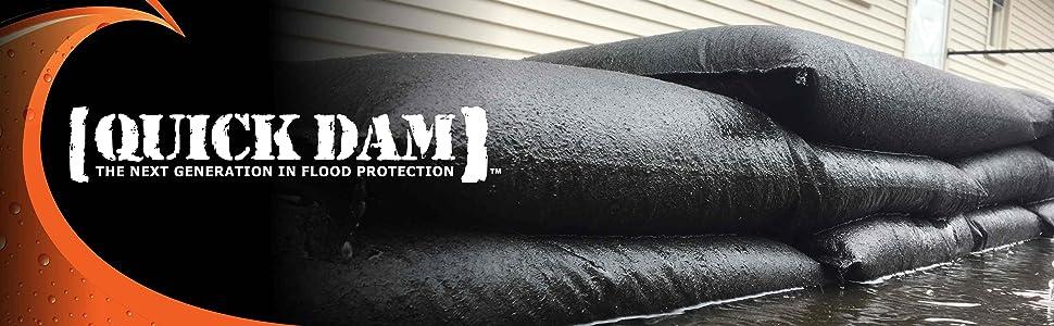 quick dam, flood bag, flood barrier, sandbag, sand bag, flood protection, hurricane protection