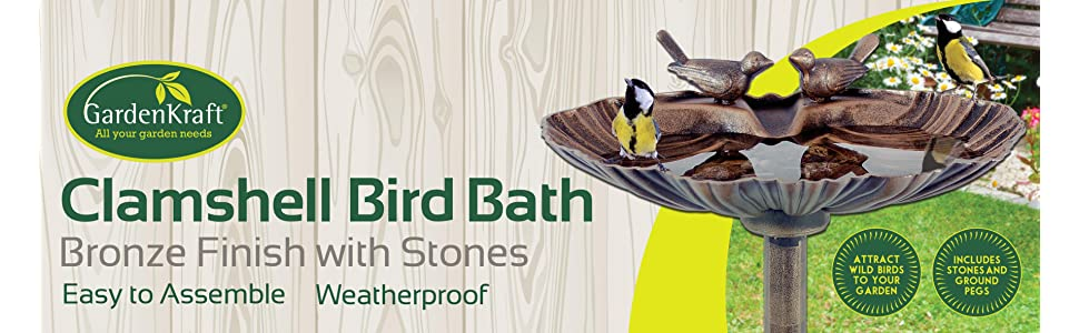 Plastic Bronze Metal Effect Clam Shell Design Birth Bath with Stones