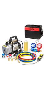 XtremepowerUS Air Vacuum Pump With Leak Detector Halogen Freon