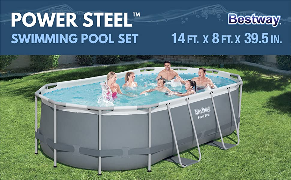 Bestway Power Steel Above Ground Pool White Gray Garden Outdoor