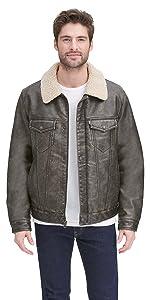 Faux Leather Sherpa Lined Trucker Jacket