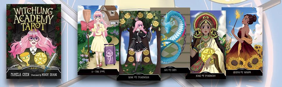 tarot, tarot deck, tarot cards, witchling academy tarot, witch academy tarot, pamela chen, anime