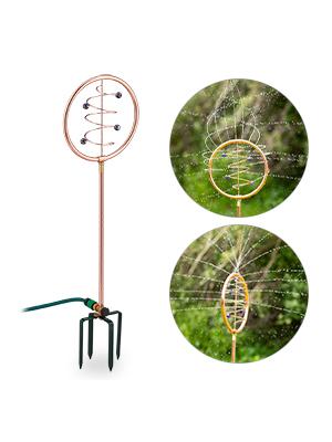 Relaxdays Wasserspiel Garten Sprinkler /& Gartendeko mit Erdspie/ß Kupfer-gr/ün Rasensprenger Spiral-Design 2 in 1