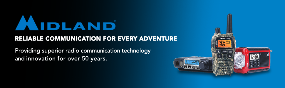 Midland Radio main logo with blue gradient background.