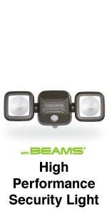 mr beams high performance security light, dual head spotlight, wireless outdoor spotlight