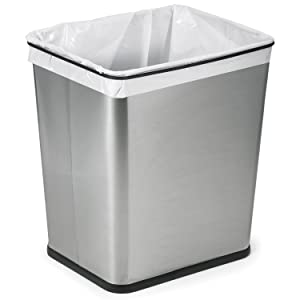 brused stainless steel trash and recyclable canister