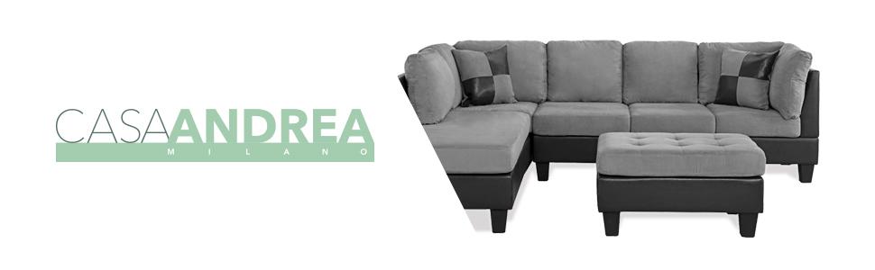 Brilliant 3 Piece Modern Reversible Microfiber Faux Leather Sectional Sofa Set W Ottoman Grey Machost Co Dining Chair Design Ideas Machostcouk