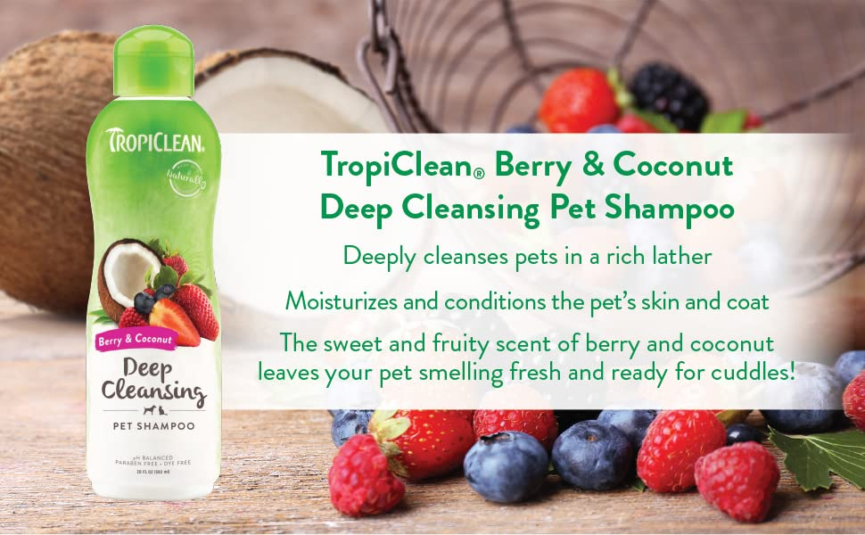 Tropiclean berry & coconut deep cleansing pet shampoo