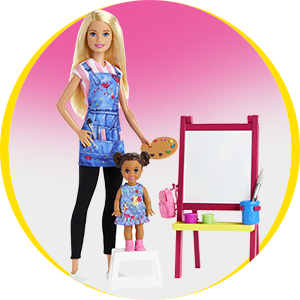 Buy Barbie Careers Art Teacher Playset With Doll Toddler Doll Easel Themed Accessories Online At Low Prices In India Amazon In