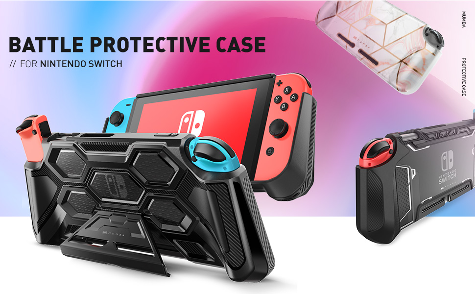 Mumba Protective Case for Nintendo Switch, Heavy Duty Grip Cover with Padded Hand Grips Kickstand