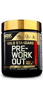 Gold Standard Pre-Workout, Gold Standard BCAA Train+Sustain, Gold Standard 100% Whey, Gold Standard 100% Casein