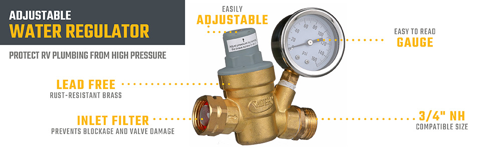 Water regulator, easily adjustable, compatible size