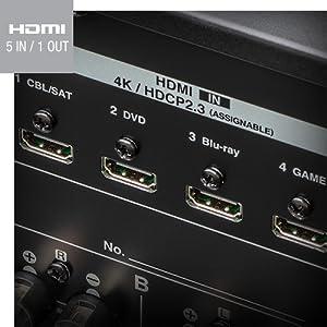 5 entradas y 1 salida HDMI con soporte para 4K y ARC